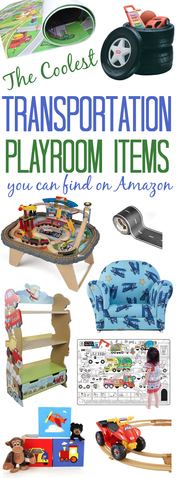 We found the coolest items for a Transportation Play room! And they're all available on Amazon!
