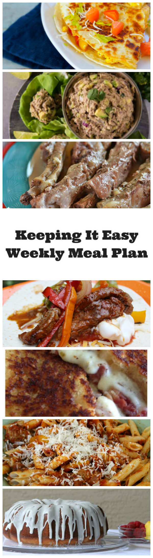 Menu planning ideas for the family for a week.