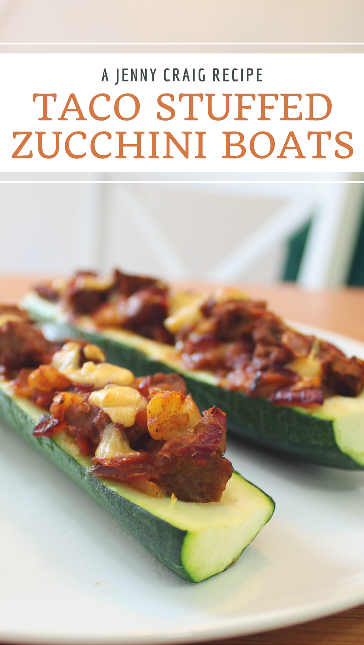 Use a Jenny Craig Classic Cheeseburger to create these deliciously filling Taco Stuffed Zucchini Boats.