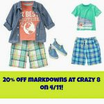Crazy 8: Extra 20% off Markdowns on 4/11!