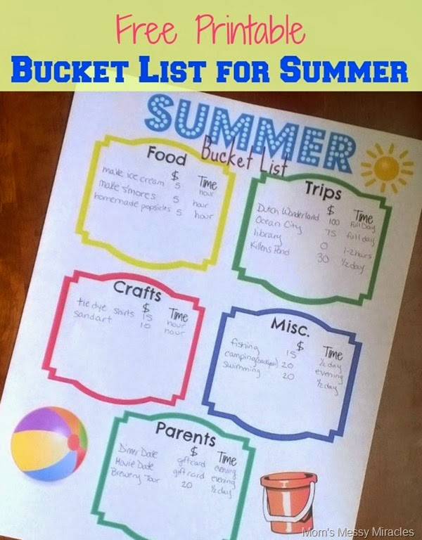 Summer Bucket List with Printable