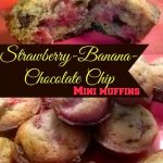 Strawberry Banana Chocolate Chip Mini Muffins