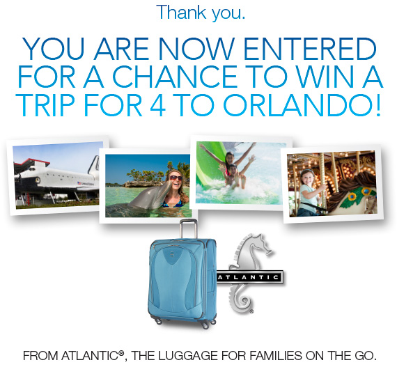 Orlando Trip Sweepstakes from Atlantic Luggage