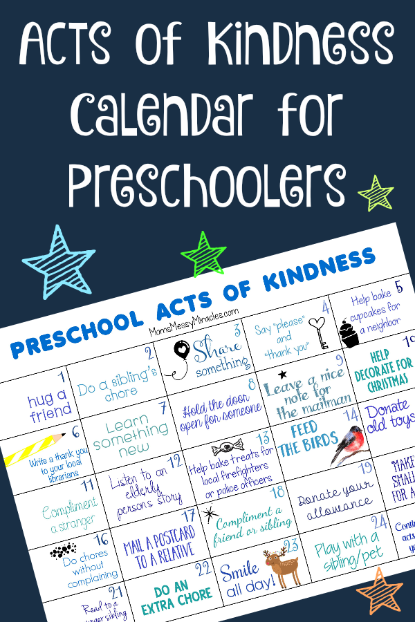 Weekly Calendar Breakfast Lunch Dinner : Acts of kindness for preschoolers the shirley journey