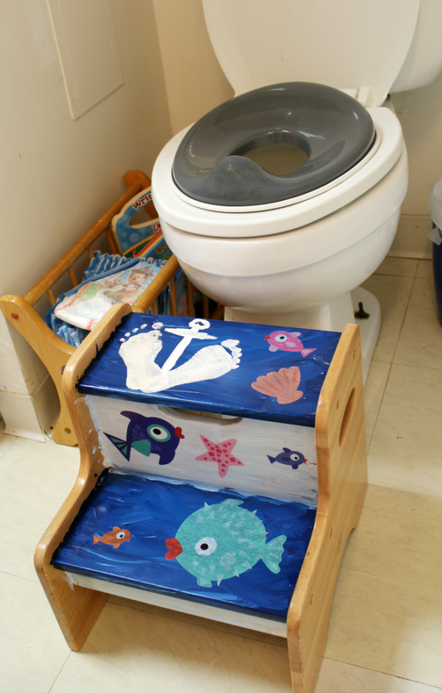 Potty corner ocean themed kids bathroom the shirley journey Bathroom step stool for kids