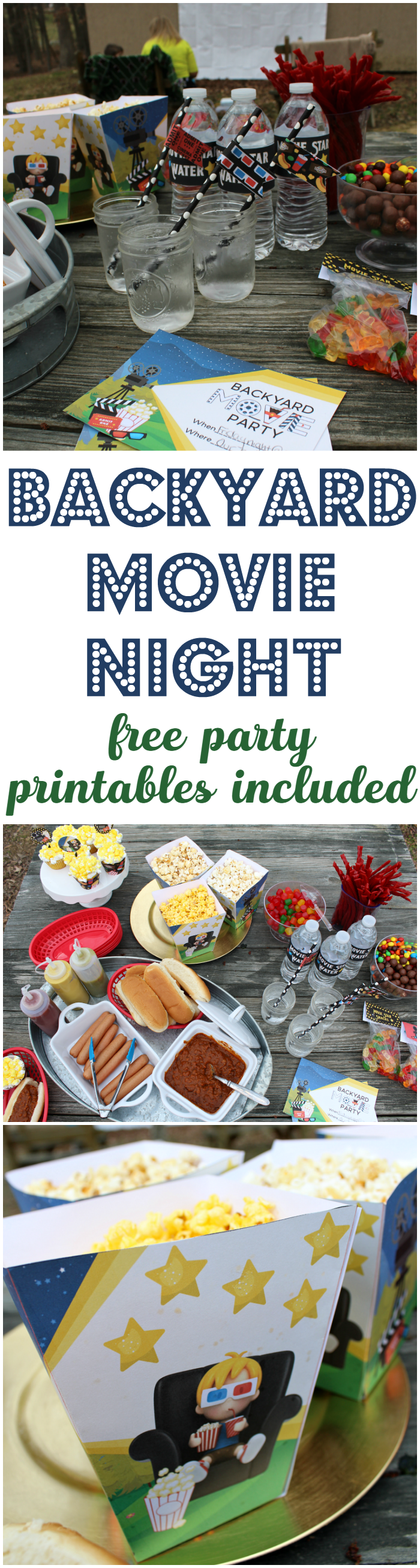 A backyard movie party is a great summer party theme! Grab these adorable free printables for all your party decorations!