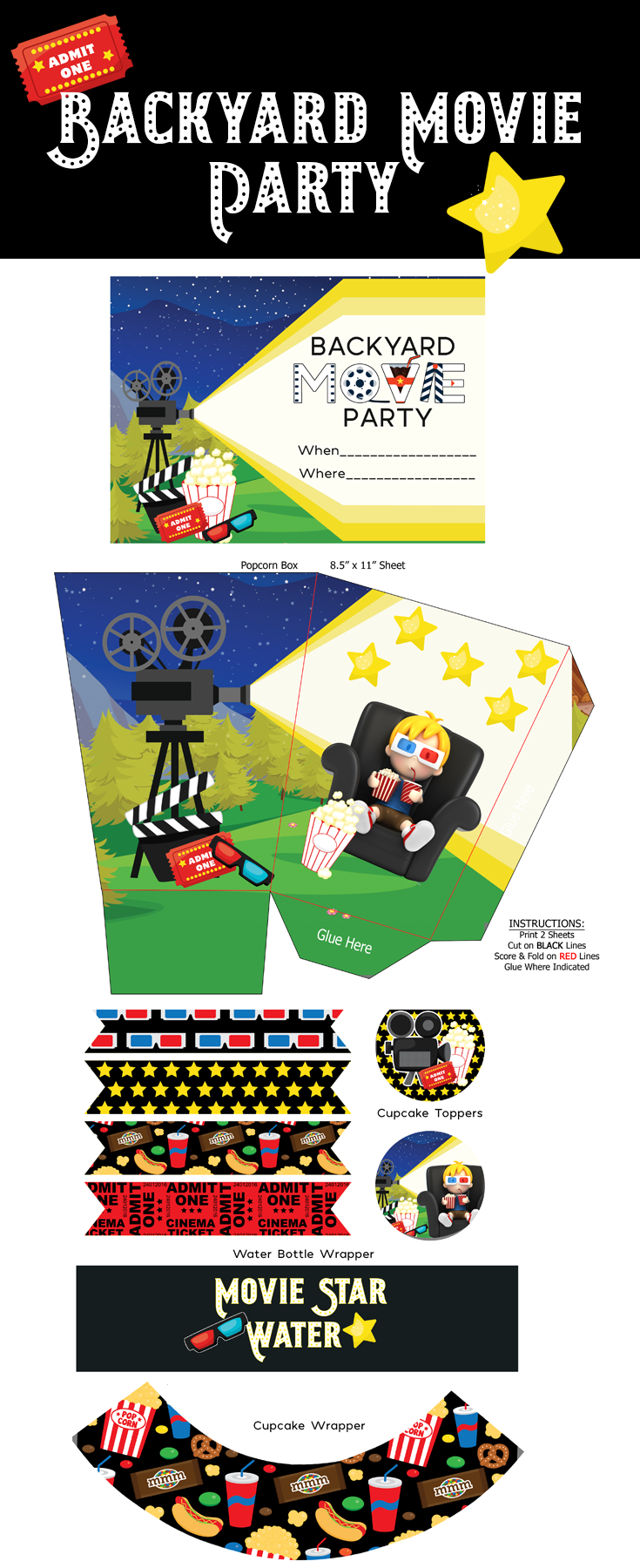 These adorable printables will make your backyard movie party so easy!