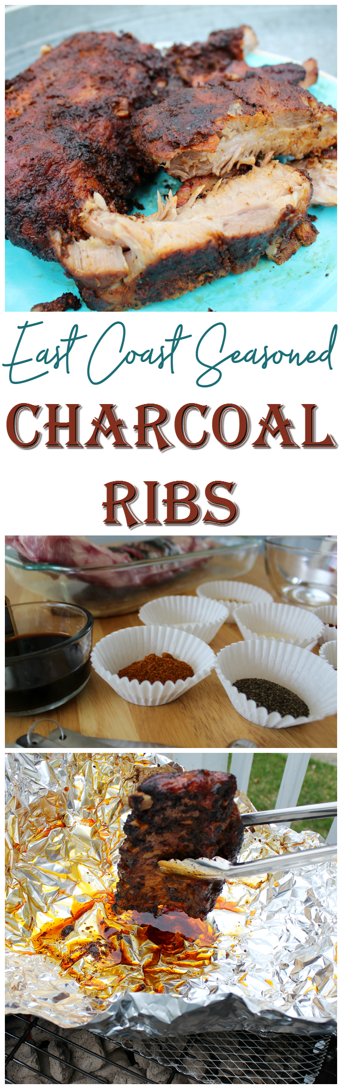 These East Coast Seasoned Charcoal Ribs are so tasty and tender! This blogger shows how easy it is to make ribs on a charcoal grill!