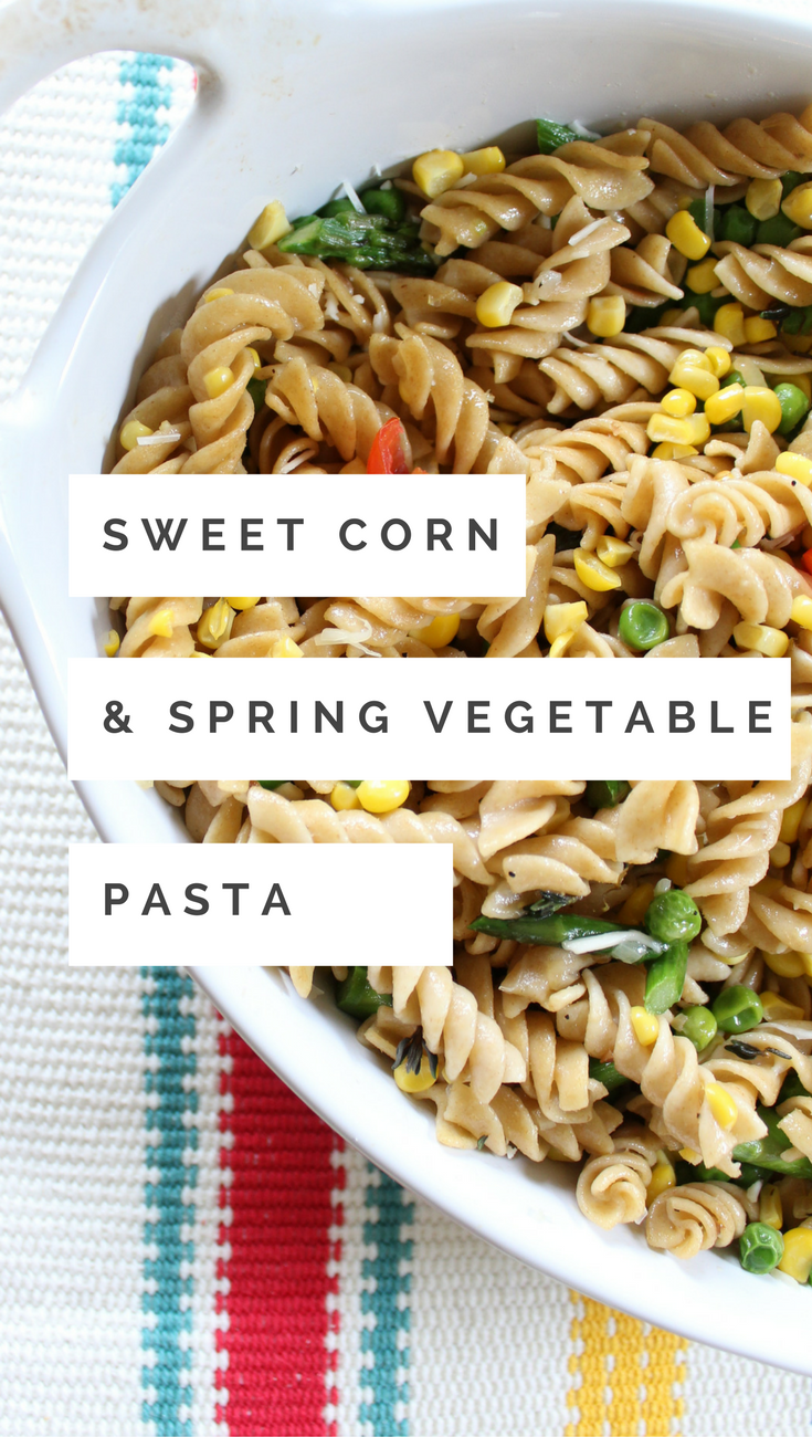 This Sweet Corn and Spring Vegetable Pasta is perfect for a light lunch or a backyard BBQ dish!
