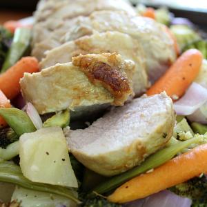 Teriyaki Pork and Garlic Roasted Vegetables Sheet Pan Dinner