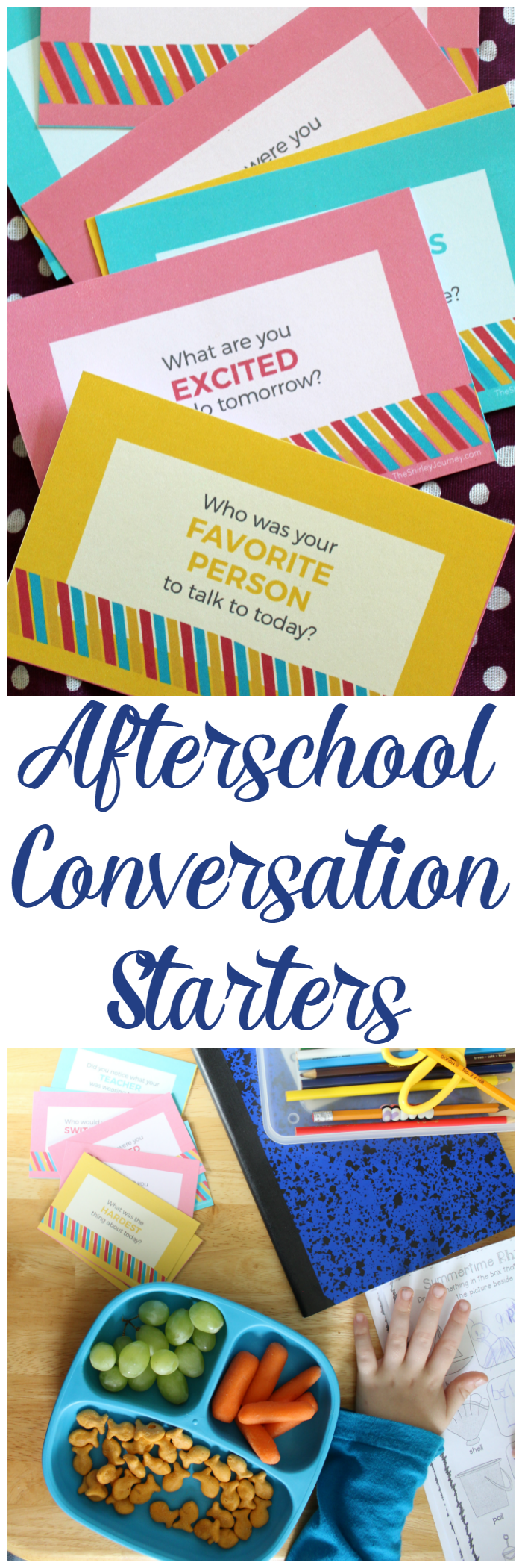 "These printable conversation starters are just what you need to connect with your kid after school! No more ""how was your day"" questions!"