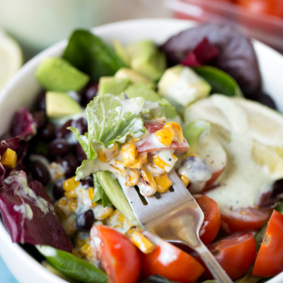Southwest Salad with Jalapeno Ranch Greek Yogurt Dressing