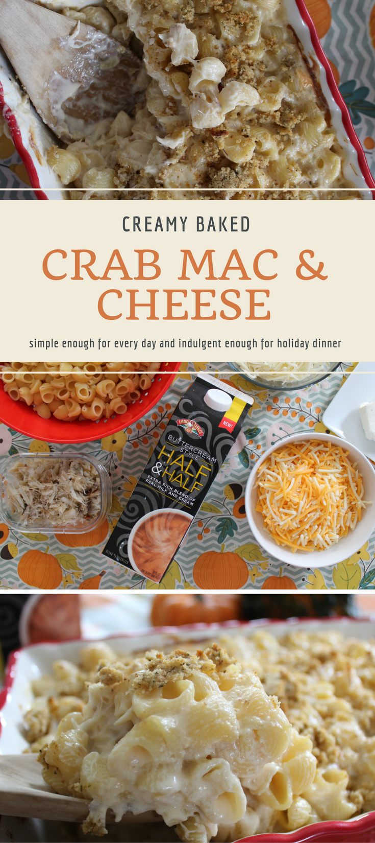 This creamy baked crab mac and cheese is simple enough for every day and indulgent enough to serve for the holidays.