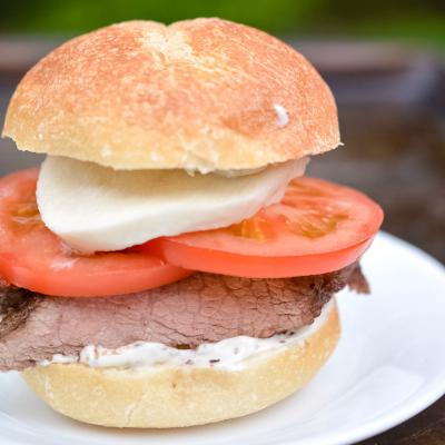 Tomato & Mozzarella Steak Sandwich with Homemade Basil Mayo
