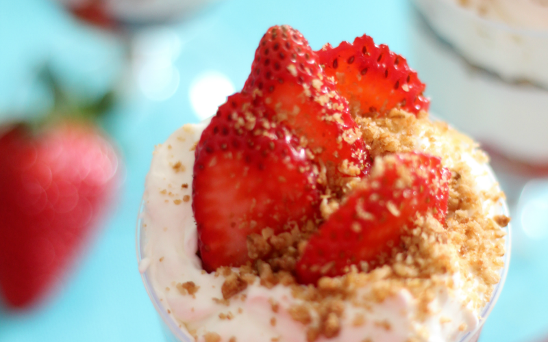 Strawberry Cheesecake Granola Parfait