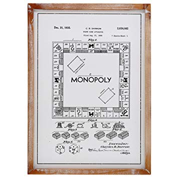 """Barnyard Designs Monopoly Board Game Patent Decor Framed Sign Vintage Farmhouse Country Home Decor 22"""" x 15.75"""""""