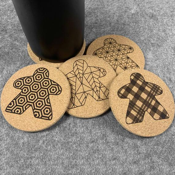 Meeple Board Game Gift: Gaming Coasters - Great for board gamer gifts or for your board game room! 20 designs! (set of 4)