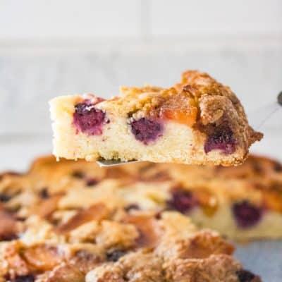 Blackberry Peach Upside Down Cake