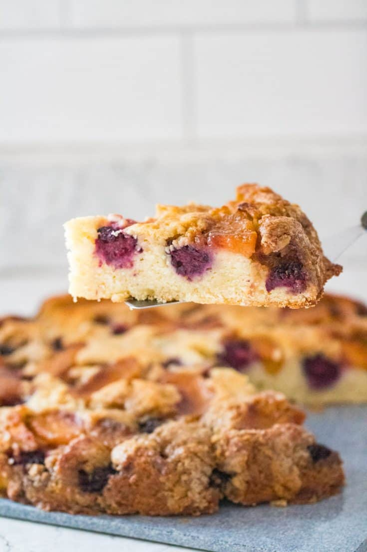 Blackberry Peach Upside Down Cake