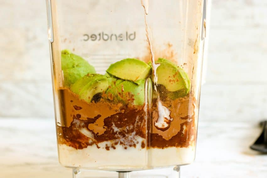 ingredients for chocolate avocado ice cream in blender ready to be blended