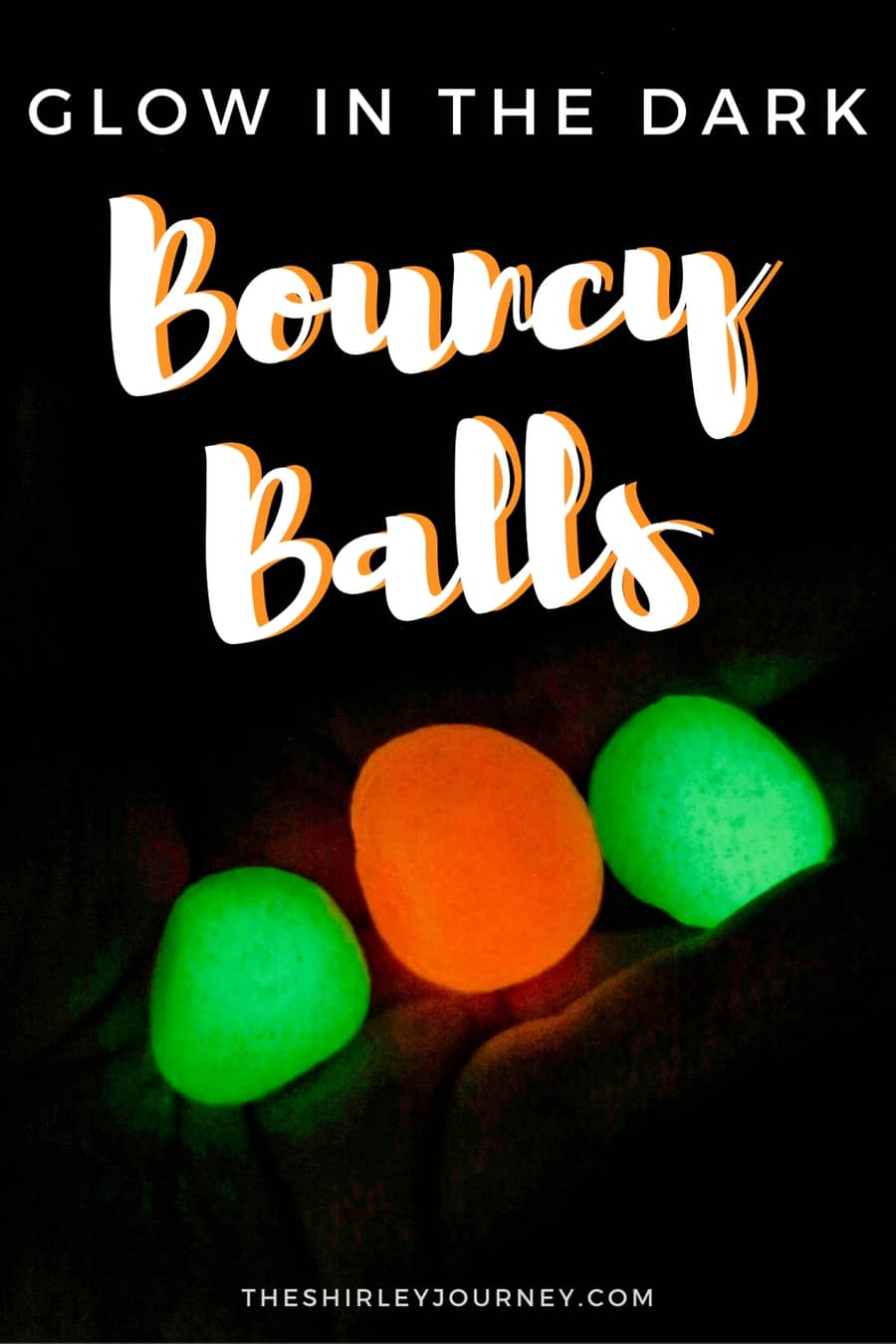 Glow in the dark bouncy balls in someone's hand with title overlay